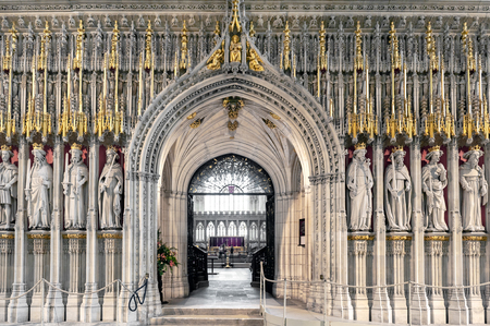 York, England - April 2018: The15th century stone screen called The Kings Screen curtained between the nave and the choir inside the cathedral of York Minster depicting fifteen figures of English kings from William the Conqueror to Henry the Sixth Editöryel