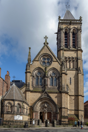 York, England - April 2018: Historic building built in Gothic Revival style of Catholic Church of St Wilfrid aka Mother Church of the city of York, England, UK