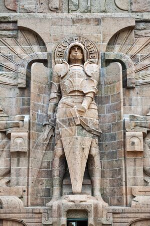 Leipzig, Germany - October 2018:  Statue of Archangel Michael at the entrance to The Monument to the Battle of the Nations in Leipzig City, Germany