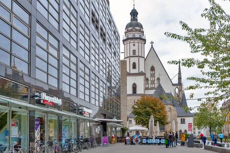 Leipzig, Germany - October 2018: Exterior of St Thomas Church (Thomaskirche), a Lutheran church in Leipzig, Germany Editorial