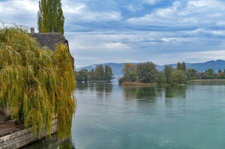 Scenic view of the Rhine River in Stein Am Rhein, Schaffhausen, Switzerland