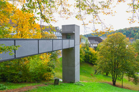 Schaffhausen, Switzerland - October 2019: The bridge connecting Neuhausen Rheinfall station to an outdoor elevator at the Rhine Falls, famous and biggest waterfall in Europe on the Rhine River in Switzerland
