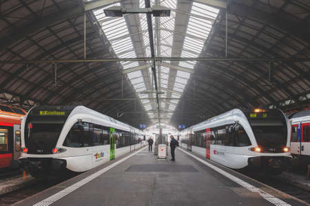 St. Gallen, Switzerland - October 2019: St Gallen railway station, the central station of the St. Gallen S-Bahn and the Appenzell Railways (AB), owned and operated by Swiss Federal Railways (SBB CFF FFS) in Switzerland Editorial
