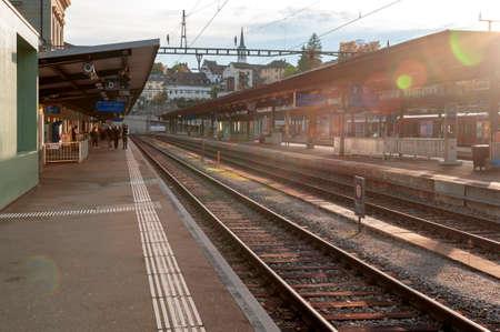 Schaffhausen, Switzerland - October 2019: Schaffhausen railway station in Schaffhausen, the capital of the Swiss canton of Schaffhausen, owned by the Swiss Federal Railways (SBB CFF FFS) and Deutsche Bahn (DB)