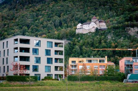 Vaduz, Liechtenstein - October 2019: Vaduz Castle lies on a hillside in urban area of Vaduz, the capital city of Liechtenstein, Central Europe