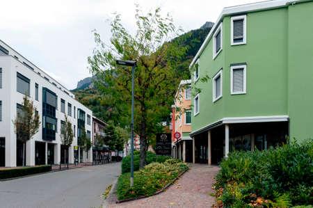 Vaduz, Liechtenstein - October 2019: Urban street views in downtown Vaduz, the capital city of Liechtenstein, a microstate situated in the Upper Rhine valley of the European Alps Editorial