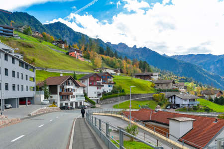 Triesenberg, Liechtenstein - October 2019: Landscape of hillside village in Triesenberg, a municipality in Liechtenstein, rests at an elevation of the Upper Rhine valley of the European Alps