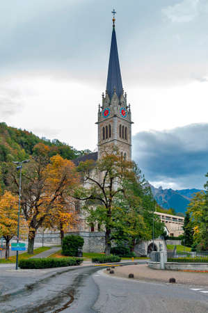 Vaduz, Liechtenstein - October 2019: Vaduz Cathedral, or Cathedral of St Florin, a neo-Gothic church and the center of the Roman Catholic Archdiocese of Vaduz, situated in downtown Vaduz, Liechtenstein