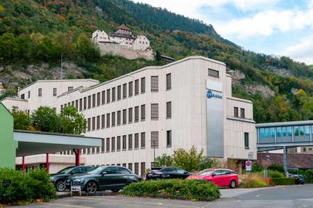 Vaduz, Liechtenstein - October 2019: Building of VP Bank headquarters situated at the foothill in downtown Vaduz, the capital city of Liechtenstein