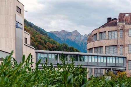 Vaduz, Liechtenstein - October 2019: A skywalk between the VP Bank headquarters building and another office building in downtown Vaduz, the capital city of Liechtenstein