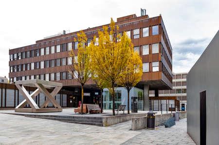 Vaduz, Liechtenstein - October 2019: Building exterior of Vaduz Post Office, a branch of Liechtenstein Post AG company, located in downtown Vaduz, the capital city of Liechtenstein