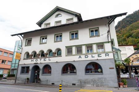 Vaduz, Liechtenstein - October 2019: Building exterior of Adler Hotel, Restaurant, and Bar, one of the oldest hospitality establishments in Vaduz, the capital city of Liechtenstein Editorial