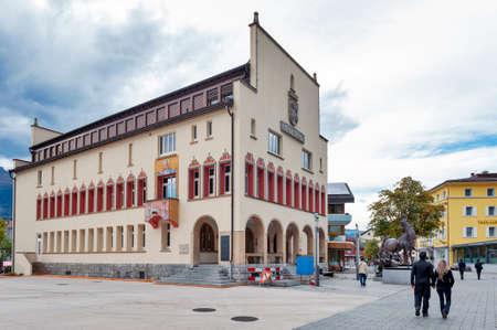 Vaduz, Liechtenstein - October 2019: Building exterior of Vaduz town hall, head office of Vaduz municipality located in the city center of Vaduz, the capital city of Liechtenstein