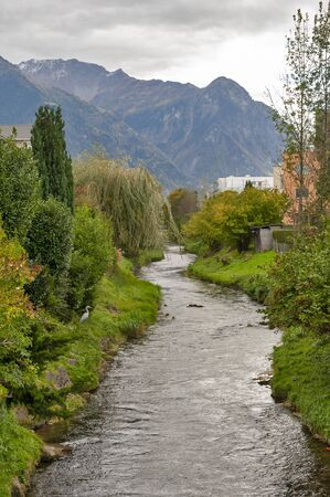 A beautiful natural creek in suburban area of Vaduz, the capital city of Liechtenstein in Central Europe