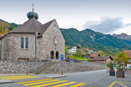 Triesenberg, Liechtenstein - October 2019: Pfarrkirche Triesenberg or St Joseph's Parish Church, a Catholic church in Liechtenstein located on a hillside municipality of Triesenberg