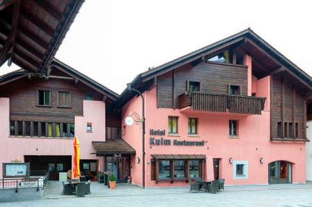 Triesenberg, Liechtenstein - October 2019: Building exterior of Kulm Hotel and Restaurant located on a hillside in the town center of Triesenberg municipality in Liechtenstein