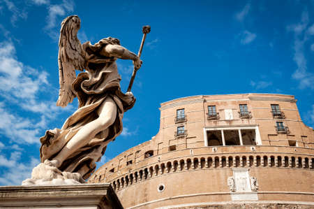Statue of Angel with the Sponge by sculptor Antonio Giorgetti at Castel Sant'Angelo (Castle of the Holy Angel) or The Mausoleum of Hadrian in Rome, Italy