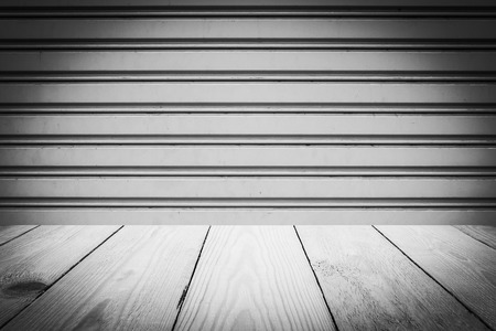 sliding doors: Abstract Black and White Steel sliding doors , Metal sheet slide door texture and Wood Texture for Background. Stock Photo