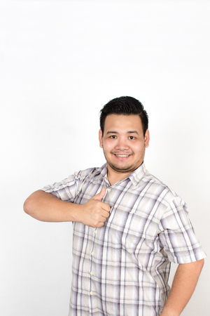 Emotion of Asian fat man on white background