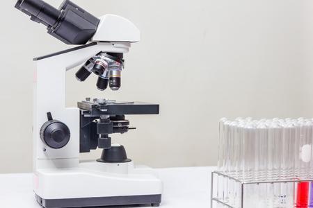 microscope lens: Laboratory microscope lens. modern microscopes in a lab.