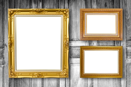 wall paintings: Set of picture frame. Photo art gallery on wood vintage wall. Stock Photo