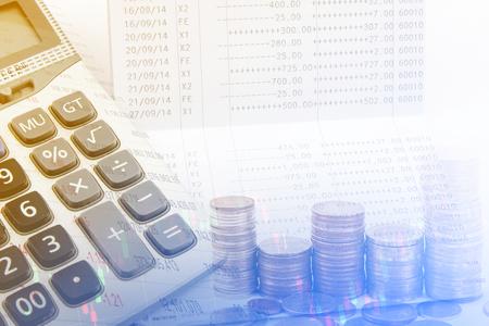 Saving account passbook, Book bank statement. Finance concept