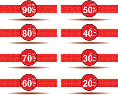 15 to 20: sale 10%, 15%, 20%, 30%, 40%, 50%, 60%, 70%, percent off on circle red label set