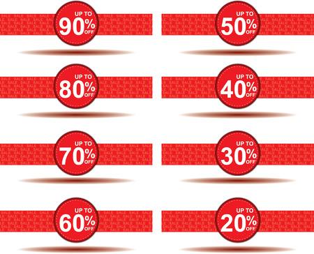 Verkauf 10%, 15%, 20%, 30%, 40%, 50%, 60%, 70%, Prozent auf Kreis rot Etikettensatz