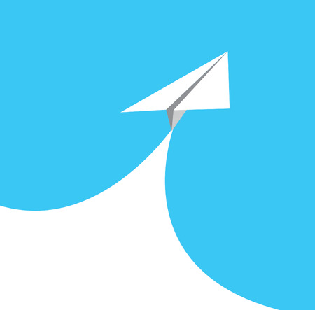 metaphor: paper airplane in blue . concept of growth or leadership. business metaphor. vector illustration