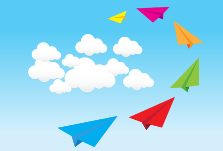 paper airplane in blue . concept of growth or leadership. business metaphor. vector illustration