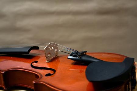 Fechar a vista de uma corda de violino e ponte Foto de archivo - 92842643