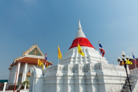 Great white Pagoda  and red cloth in Thailand