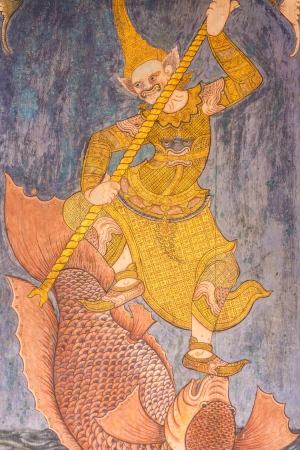 Art of ancient painting Thai retro on wooden