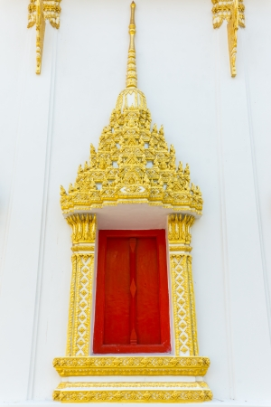 Window ornament pattern hinges red frame gold  Thailand  Stock Photo