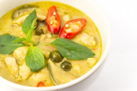 Thailand food Green curry Chicken Intense soup