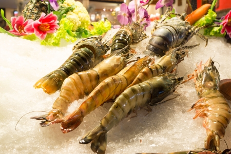 Chilled shrimp and lobster on night market.