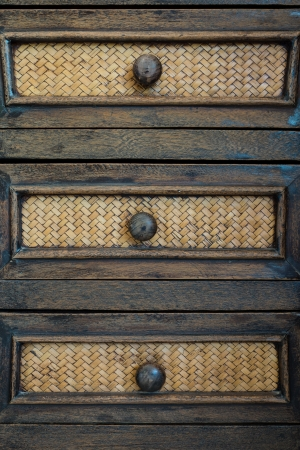 Old wood drawer with bamboo weave patterns