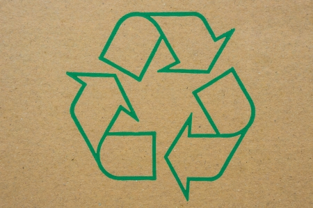 Logo green recycle on old folding carton  photo