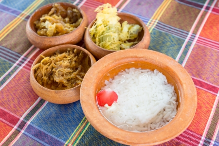 Rice in ice water and side dishes