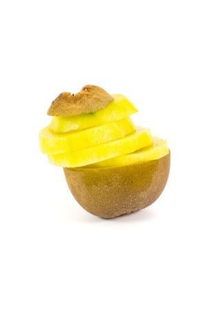 Yellow kiwi fruit on a white background