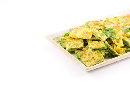 Fried acacia Pennata with egg (cha-om in Thailand) Stock Photo