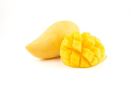 Yellow mango on isolated white background