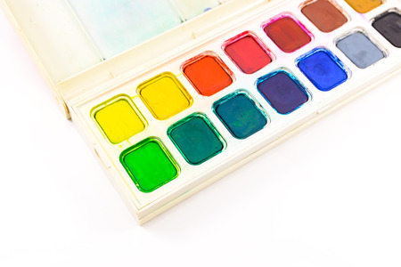 Paint tray colorful on isolated white background