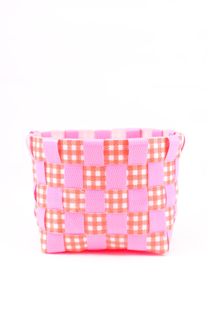 Plastic pink bucket on white background isolated photo