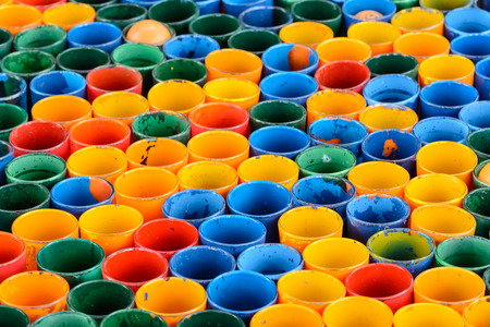 Row colourful glass in green yellow blue red orange Stock Photo