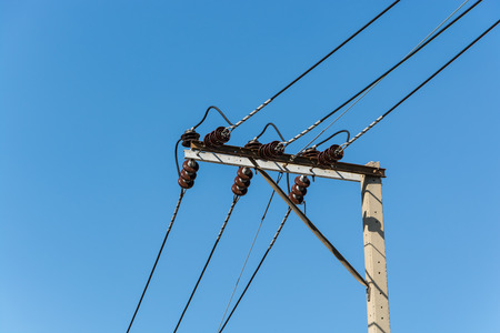 Wire on pole and blue sky background