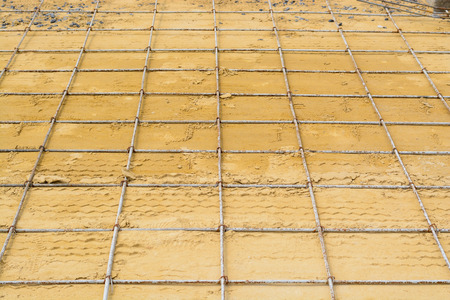 reinforcement: Mesh steel rod for construction reinforcement before pouring concrete Stock Photo