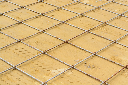 construction mesh: Mesh steel rod for construction reinforcement before pouring concrete Stock Photo