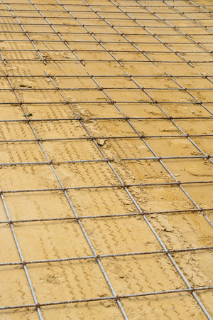 Mesh steel rod for construction reinforcement before pouring concrete Stock Photo