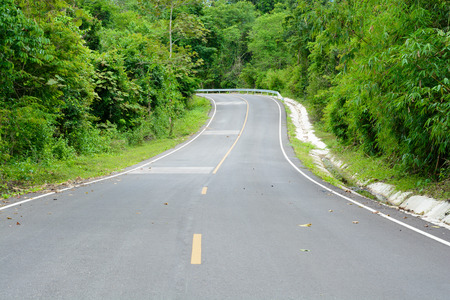 Asphalt roads in the forest and turn left Stock Photo